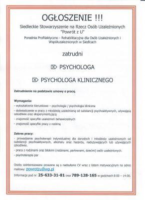 PSYCHOLOG - ogłoszenie